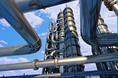 stock photo of gas-pipes  - Metal pipe plant against the sky - JPG