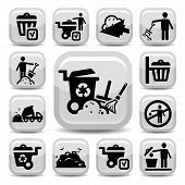 stock photo of reprocess  - Vector Garbage And Cleaning Icons Set Created For Mobile - JPG