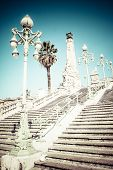 stock photo of gare  - stairway to Saint Charles train station in Marseille France - JPG