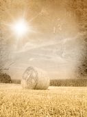 picture of hay bale  - Vintage autumn landscape  - JPG