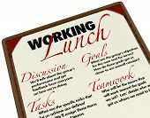 A Working Lunch agenda menu for setting goals, discussing tasks and brainstorming ideas for a compan