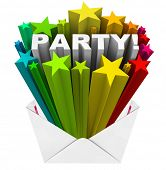 An invitation with a colorful fireworks starburst shooting out of the envelope with the word Party to invite you to a special event, gathering, get-together or blowout bash
