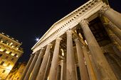 Pantheon Columns and Moonlight Rome