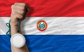 Silver Medal For Sport And  National Flag Of Paraguay
