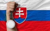 Silver Medal For Sport And  National Flag Of Slovakia