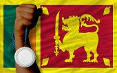 Silver Medal For Sport And  National Flag Of Srilanka