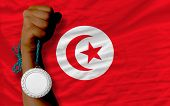 Silver Medal For Sport And  National Flag Of Tunisia