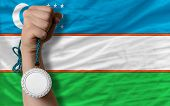 Silver Medal For Sport And  National Flag Of Uzbekistan