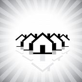 Residential Real Estate Or Property Market Icon(symbol) Of Houses