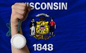 Silver Medal For Sport And  Flag Of American State Of Wisconsin