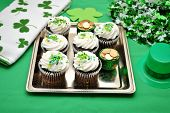 Cupcakes with ST Patty's Day Decorations