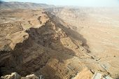 foto of masada  - View to the Jdean desert from Masada fortress Israel - JPG
