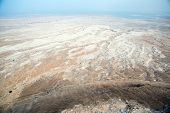 stock photo of masada  - View to the water of the Dead Sea from Masada fortress Israel - JPG