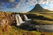 stock photo of lichenes  - Iceland Landscape spring panorama at sunrise  - JPG