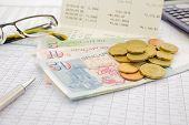 foto of accumulative  - currency and paper money of Singapore saving account and money concept - JPG