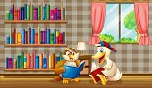 Illustration of an owl and a duck reading inside the house
