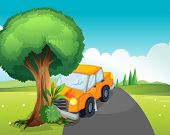 Illustration of a car crash at the road with a big tree