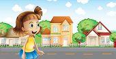 Ilustración de una chica caminando por el barrio
