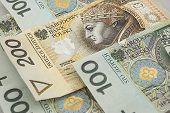 Polish Zloty Banknotes Background poster