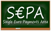 SEPA - Single Euro Payments Area on chalkboard