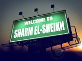 Billboard Welcome to Sharm el-Sheikh at Sunrise.