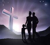 pic of holy family  - A Christian family with a cross in a mountain landscape and a sunrise Christian family life or Easter concept - JPG