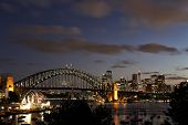 Lavender Bay and Sydney Harbour Bridge at dusk