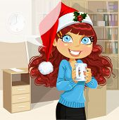 Business Woman In Christmas Morning Office Hold Cup Of Hot Drinc