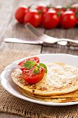 Savory pancakes with tomatoes