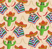 pic of cactus  - Mexican pattern with cactus hat and chill illustration over background - JPG