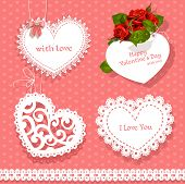 Set Of Cards Valentine Heart-shaped For Your Congratulations On Seamless Background