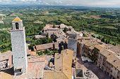 Piazza Della Cisterna In Historic Centre Of San Gimignano, Tuscany