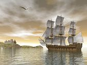 stock photo of galleon  - Beautiful detailed old merchant ship going back to castle and seagull flying around by cloudy sunset - JPG