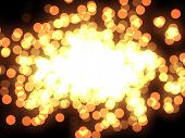 Design template - closeup view of burning sparkler. Colorful Particles