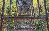 stock photo of trestle bridge  - Railroad Trestle At Letchworth State Park In New York - JPG