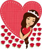 Beautiful Woman Holding Red Heart And  Many  Roses