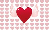Valentine day heart with angel wings