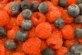 Vivid Raspberries And Blueberries