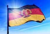 East Germany flag (1949 to 1990) waving on the wind