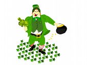 leprechaun clover pot gold