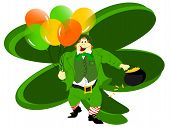 leprechaun balloons clover backgrd