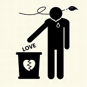 stock photo of scruple  - Broken heart and dropped Love into the trash - JPG