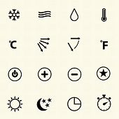Air conditioning icons with texture background.