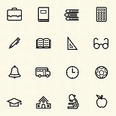 Simple Documents and Library icon sets. Line icons.