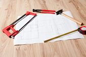 Carpenter Tools And Building Plan