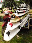 Surfboards Loaded On A Motorbike.