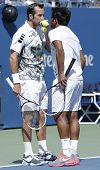 US Open 2013 men doubles champions Radek Stepanek from Czech Republic and Leander Paes from India