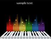 stock photo of rainbow piano  - Black background with glossy piano keys and colorful equalizer - JPG