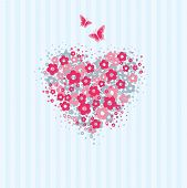 Flower heart with butterflies card