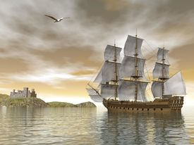 pic of historical ship  - Beautiful detailed old merchant ship going back to castle and seagull flying around by cloudy sunset - JPG